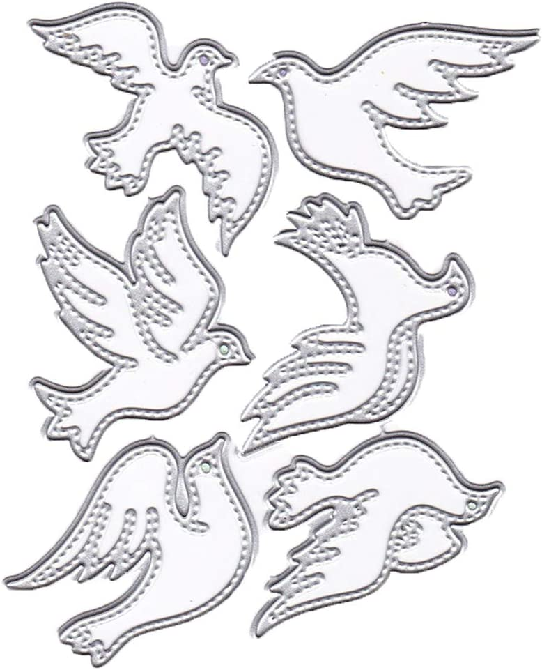 6Pcs/Set Birds Metal Cutting Dies 4.7 by 3.7 Inch DIY Animal Dies for Card Making and Scrapbooking Christmas Die Cuts (#15)