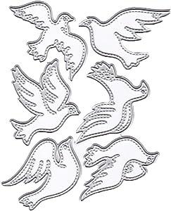 6Pcs/Set Birds Metal Cutting Dies 4.7 by 3.7 Inch DIY Animal Dies for Card Making and Scrapbooking Christmas Die Cuts (#15)