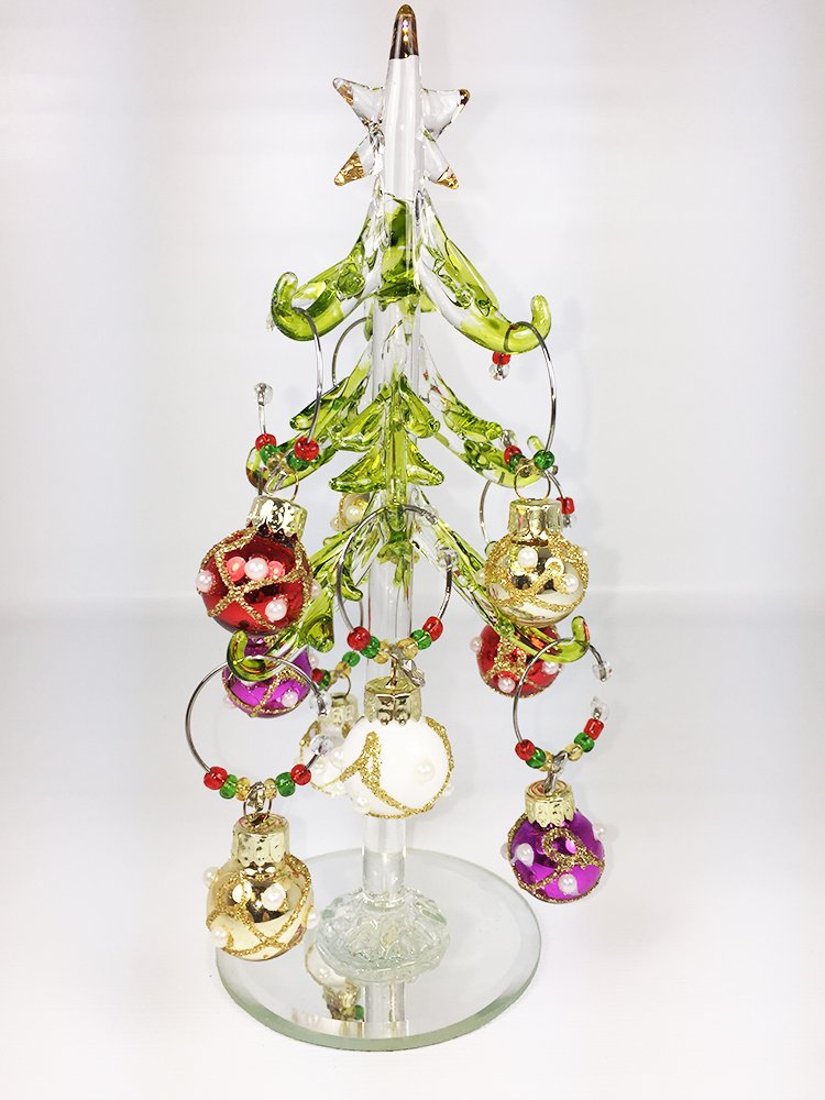 LSArts Glass Christmas Tree with Wine Charms (Glass Christmas Tree with 12 Enamel Wine Charm Ornaments) LS Arts