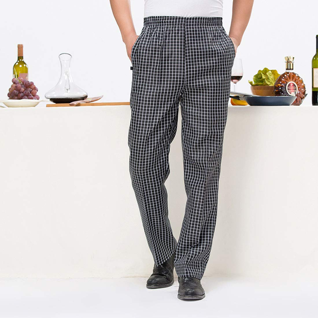 Jiyaru Pantalon de Cuisine Professionnel Pantalon de Chef Travail Pantalon de Boulanger Universel pour Homme Femme