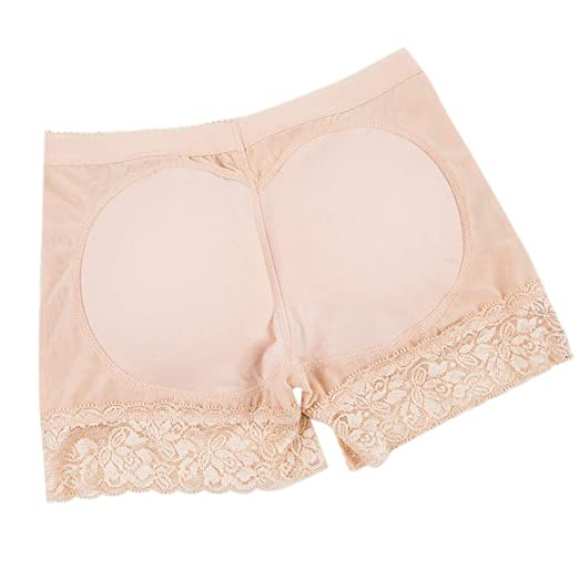 b32e1712f29 Amazon.com  Women Lingerie Sexy Panties Interior Push Up Padded Intimates  Solid Fake Ass Underwear Plus Size(Beige