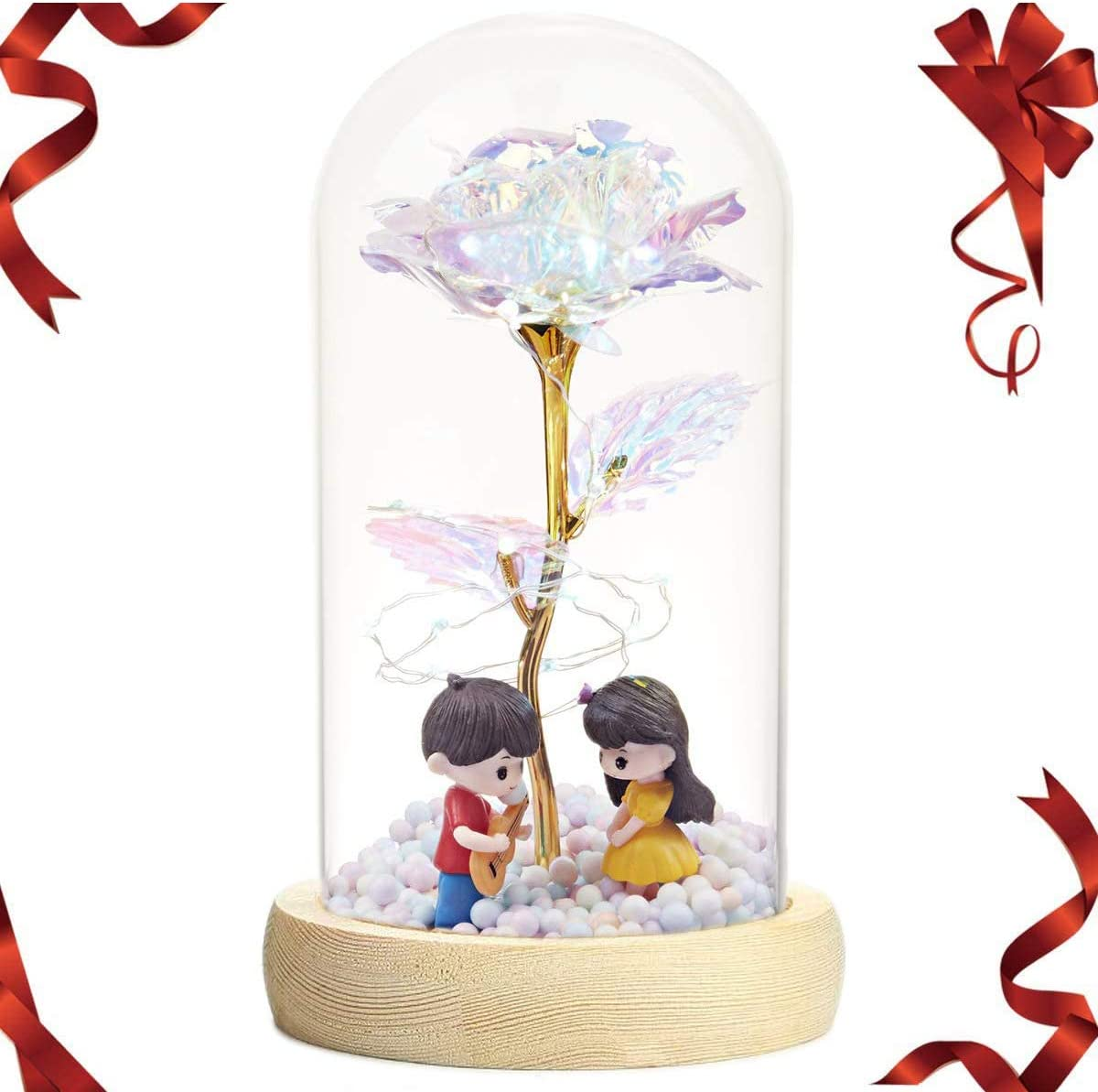 Glass Rose Dome, Artificial Colorful Gold Foil Rose Flower and Led Light, Unique Gifts Mother's Day Thanksgiving Valentine's Day Girl's Birthday Party(DATE)