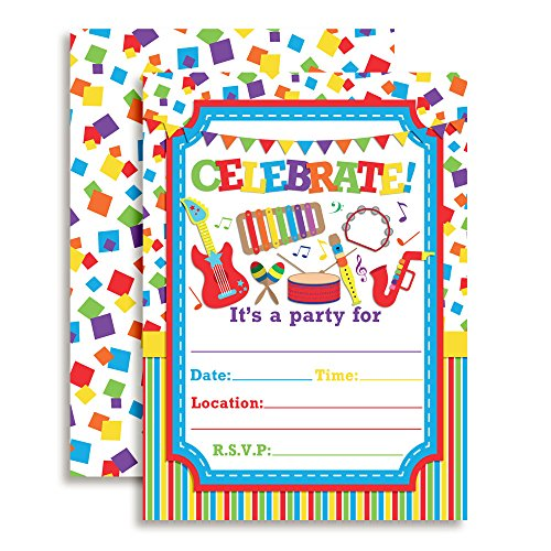 Celebrate with Musical Instruments Birthday Party Invitations, 20 5