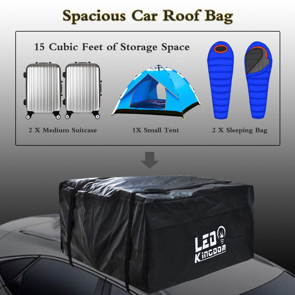 2 Reinfored Straps Included 15 Cubic Feet Heavy Duty Rooftop Bag Vehicle Soft Shell Carrier Bag Car Roof Bag Waterproof Cargo Top Storage Bag Fits All Cars with No Roof Rack