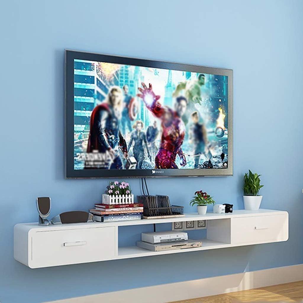 ZYFBG Estantes de Pared Soporte Flotante de Alto Brillo TV, Esquina Redonda de Pared TV Soporte de componentes Estante, WiFi Router Estante de Almacenamiento, con 2 cajones Accesorios: Amazon.es: Hogar