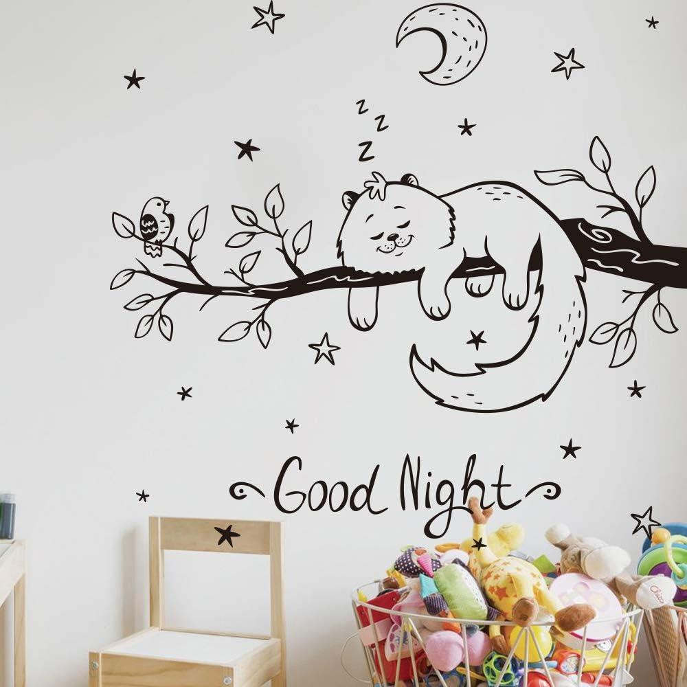 SLQUIET Dibujos animados personalizables gato durmiendo en ramas etiqueta de la pared vivero habitación de los niños buenas noches mascota estrella luna pájaro etiqueta de la pared 110 cm x 105 cm