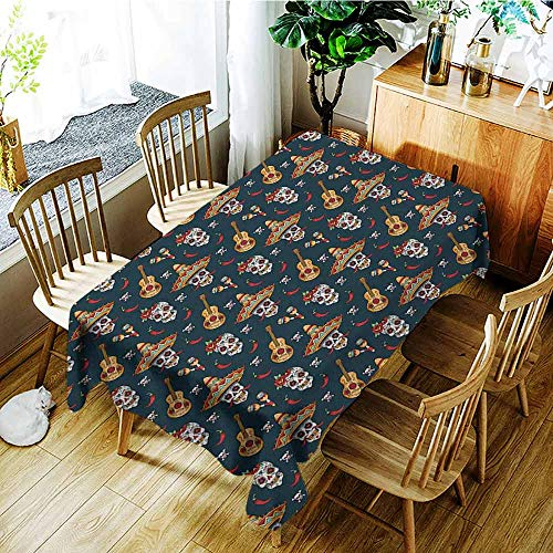 XXANS Spill-Proof Table Cover,Mexican,Detailed Artistic Floral Sugar Skulls with Sombrero Hats Chili Peppers and Guitars,Fashions Rectangular,W50x80L Multicolor