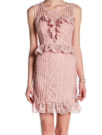 2418f068a0a5a ROMEO   JULIET COUTURE Women s Ruffle Waist Lace Dress Dusty Pink Dress at  Amazon Women s Clothing store