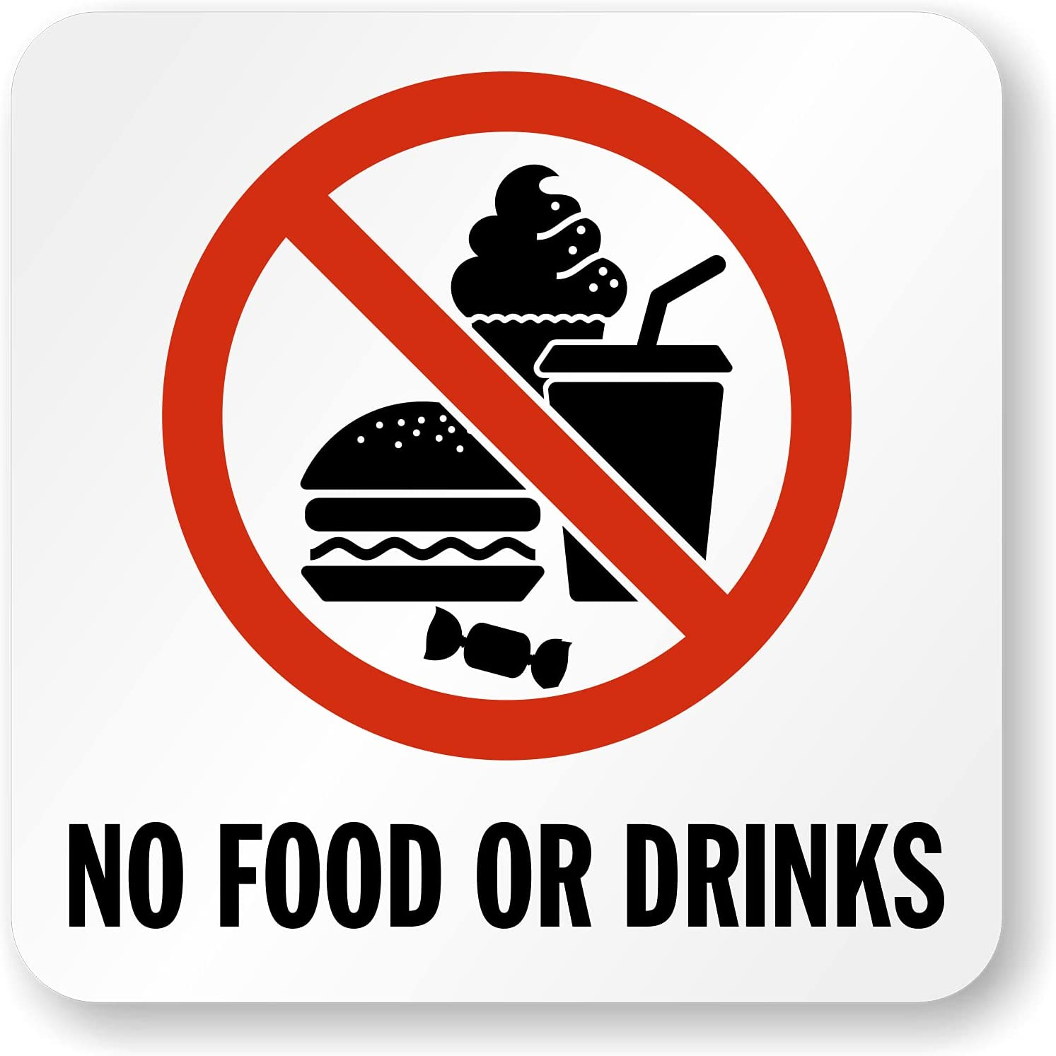 """SmartSign 5.75 x 5.75 inch """"No Food Or Drinks"""" Adhesive Pool Marker with Graphic, 20 mil Laminated Vinyl with Anti-Skid Pebbled Surface, Red, Black and White"""