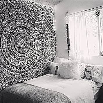 Nice Tapestry Black Hippie Elephant Mandala Tapestry Indian Traditional Beach  Throw Wall Art College Dorm Bohemian Wall Part 22