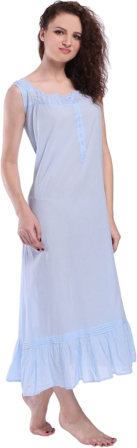 Victorian Style Nightgown Sleeveless Long Sleepwear Women Cotton Plus Size Vintage Nightdress