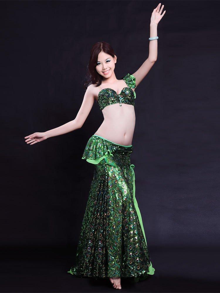 ベリーダンス 衣装 セット ベリーダンス コスチューム ブラトップ 腰ベルト スカートのセット 衣装 コスチューム B075NN7K7Y  Medium