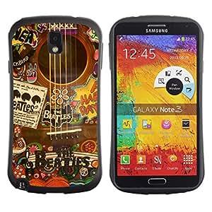 "Hypernova Slim Fit Dual Barniz Protector Caso Case Funda Para Samsung Note 3 [Música Artista Instrumento Collage""]"