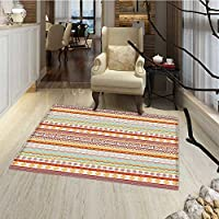 Tribal Bath Mats for bathroom Striped Vintage Native American Pattern with Geometric Floral Shapes Print Door Mats for inside Non Slip Backing 24x36 Marigold Red and Tan