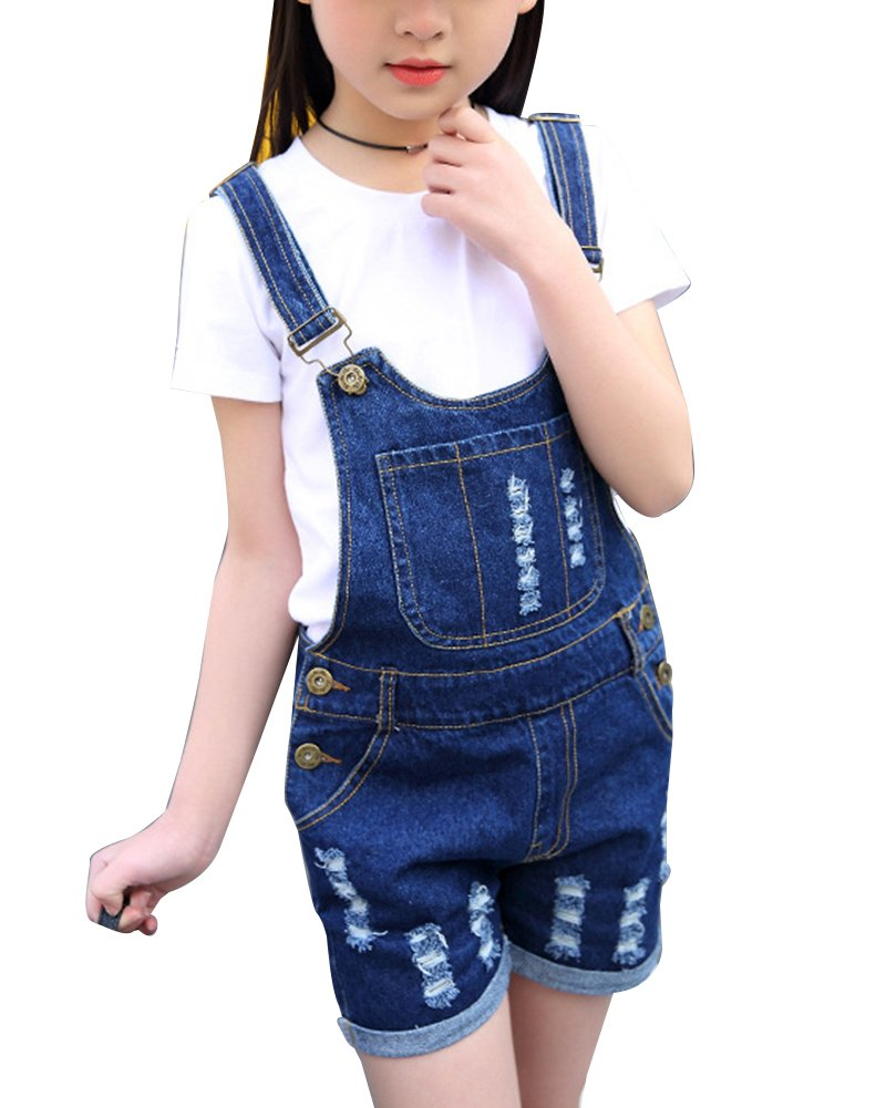 Guiran Girls Vingtage Ripped Denim Overall Dungaree Shorts Denim Jean Short Overalls Jumpsuits