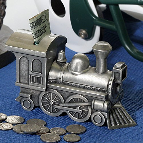Personalized Pewter Brushed Train Money Bank Message Or Name Engraved by Center Gifts