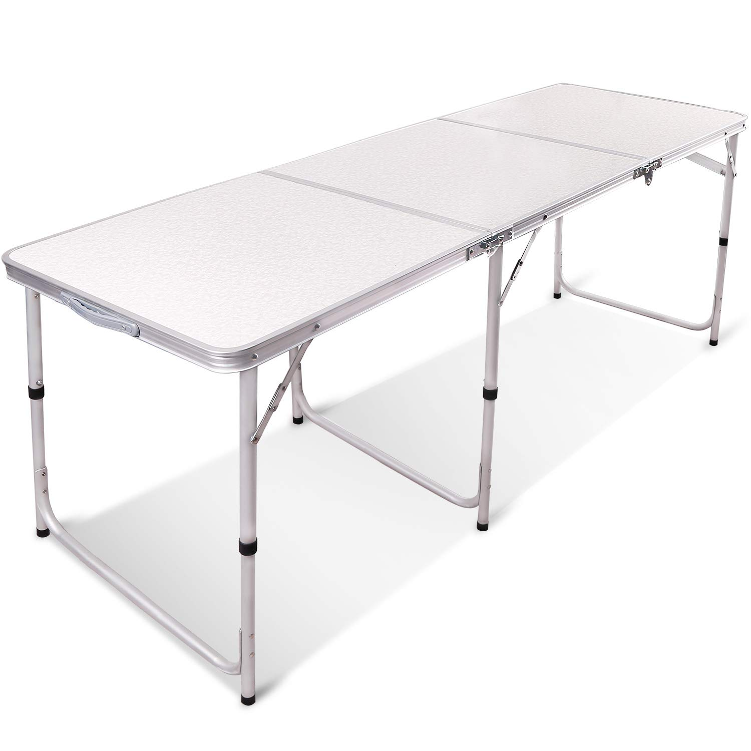 REDCAMP Aluminum Folding Table 6 Foot, Adjustable Height Portable Camping Table, Sturdy Lightweight 72'' Camp Table by