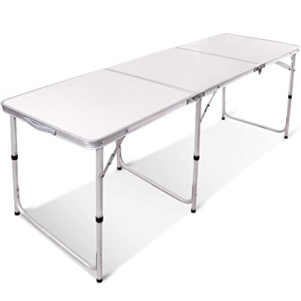 REDCAMP 6ft Aluminum Folding Table,3-Fold Adjustable Height Portable Table  for Camping, Picnic, Outdoor, White, 71''x23 5''x27''