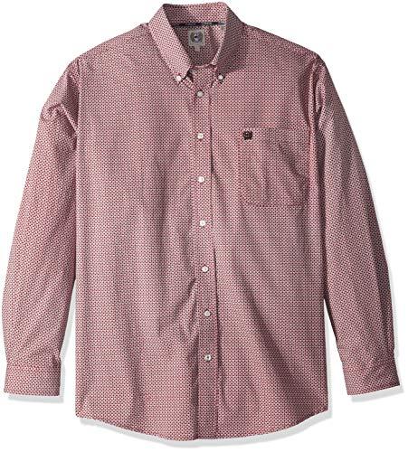 (Cinch Men's Classic Fit Long Sleeve Button One Open Pocket Print Shirt, Burgundy Check S)