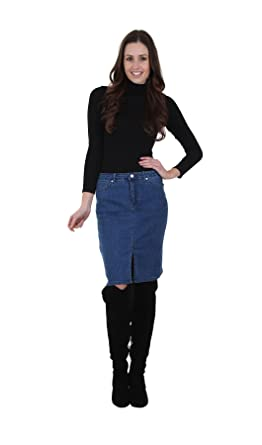 Knee Length Denim Skirt with Front Split Stonewash Womens Jean ...