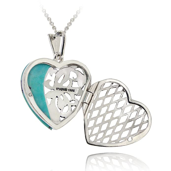 Sterling Silver Mother of Pearl Heart Locket Necklace on 18
