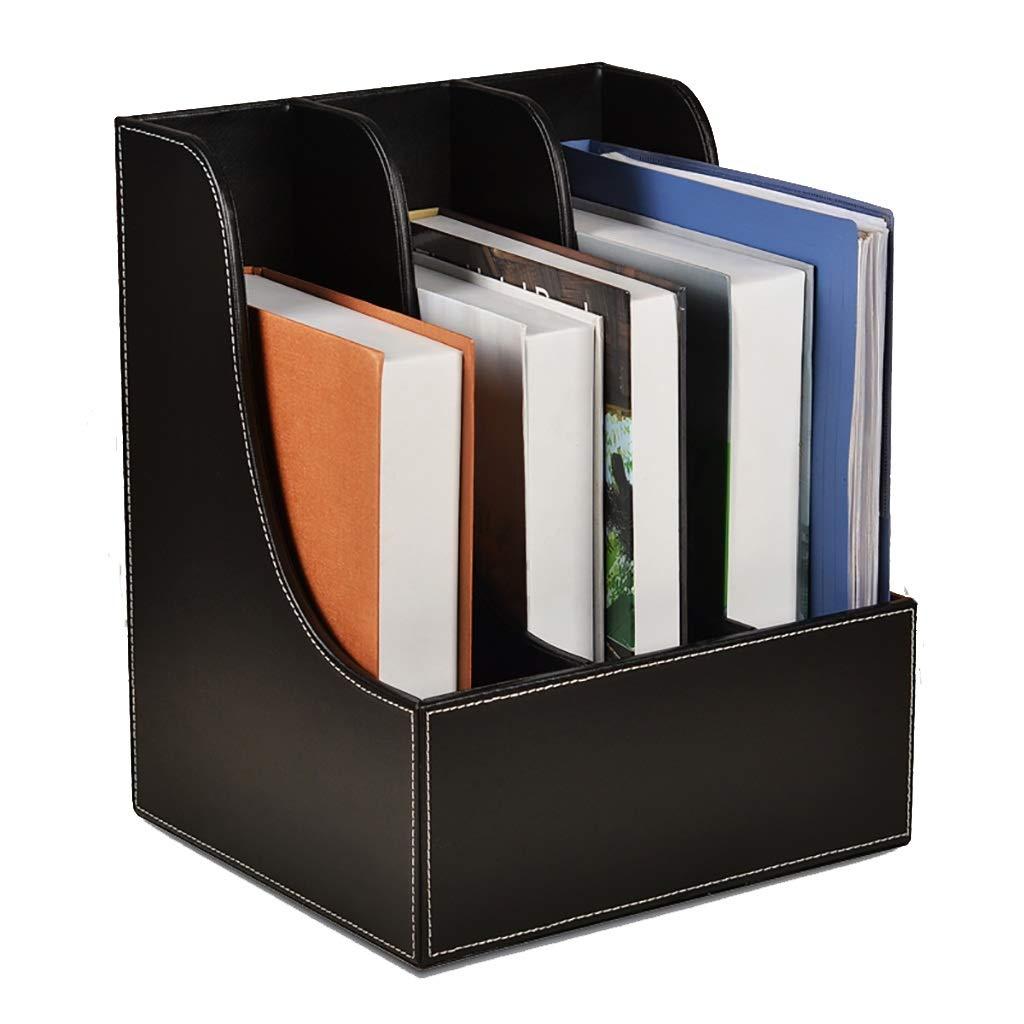 ファイル棚収納ボックスファイルバー棚高密度ボード高品質レザーデスクトップファイル収納ボックス3列ブラウン/ブラック (色 : A) B07MF5X219 A