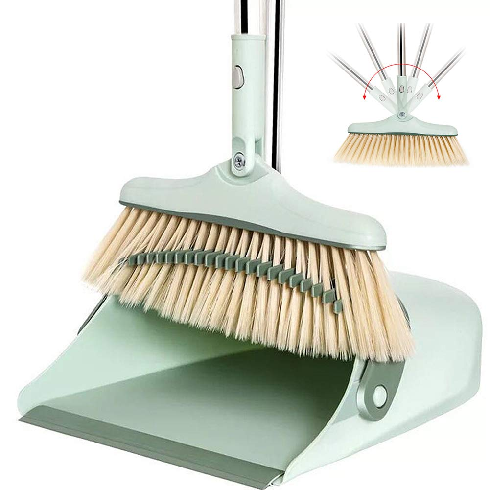 YJIUJIU Broom and Dustpan Set | Self Cleaning Bristles Broom and Dust Pan Combo, Dustpan and Broom with Long Handle for Kitchen Home Room Office Lobby Floor Sweep Upright Stand up