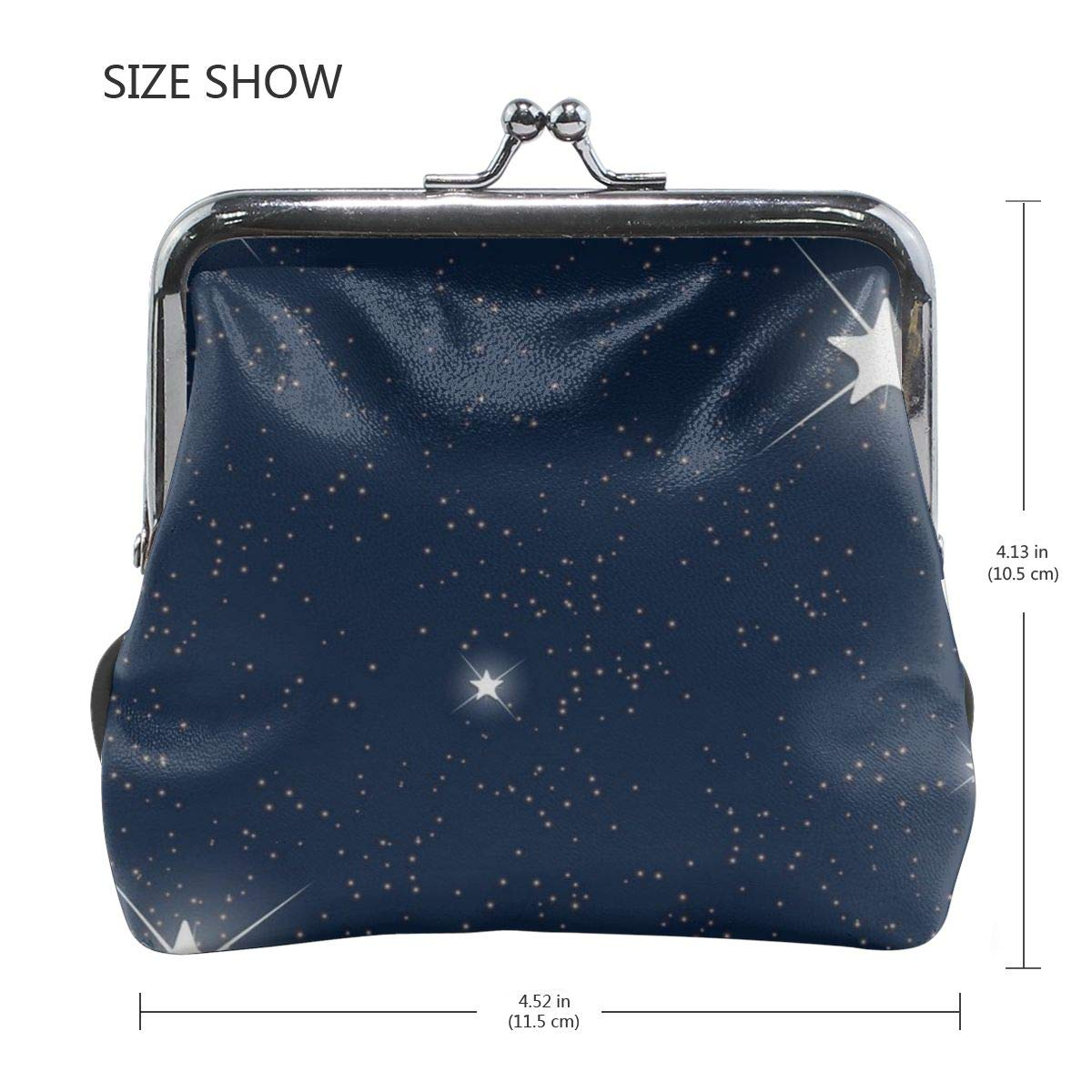 Poream Space Blue Starry Sky Customized Retro Leather Cute Classic Coin Purse Clutch Pouch Wallet For Womens