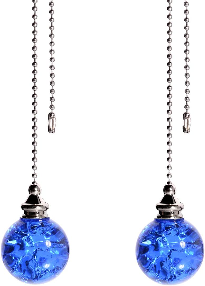 2PCS Blue Pull Chain Crystal Glass Ice Cracked Ball Pull Chain for Ceiling Fan Light Decoration 50cm Extension Chain - -