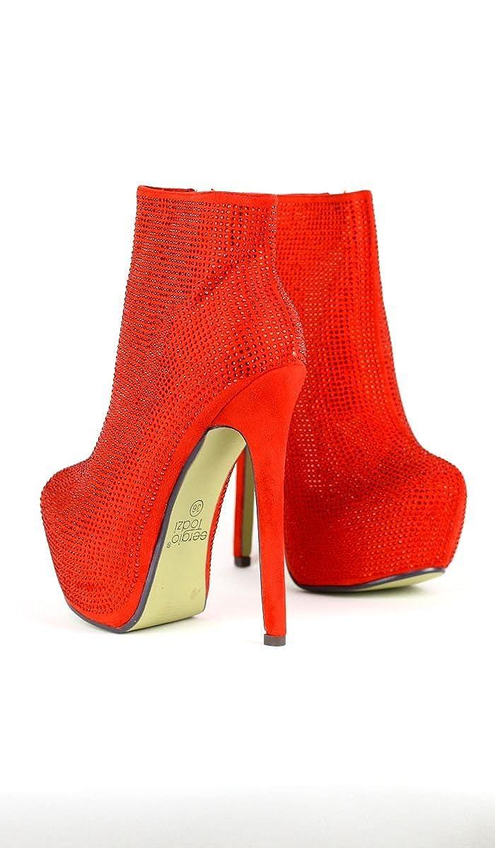 Glamour-Stiefellete mit funkelnder Strass-Verzierung und Pfennig-Abssatz in in in rot 57be5a
