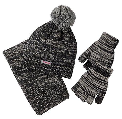 Black Gold Striped Headband (Sportoli Girls Kids Cable Knit Cold Weather Accessory Set Warm Hat Scarf Gloves (Black))