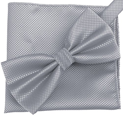 Flairs New York Gentleman's Essentials Bow Tie and Pocket Square Matching Set (Platinum Silver [Diamond Shape Print])
