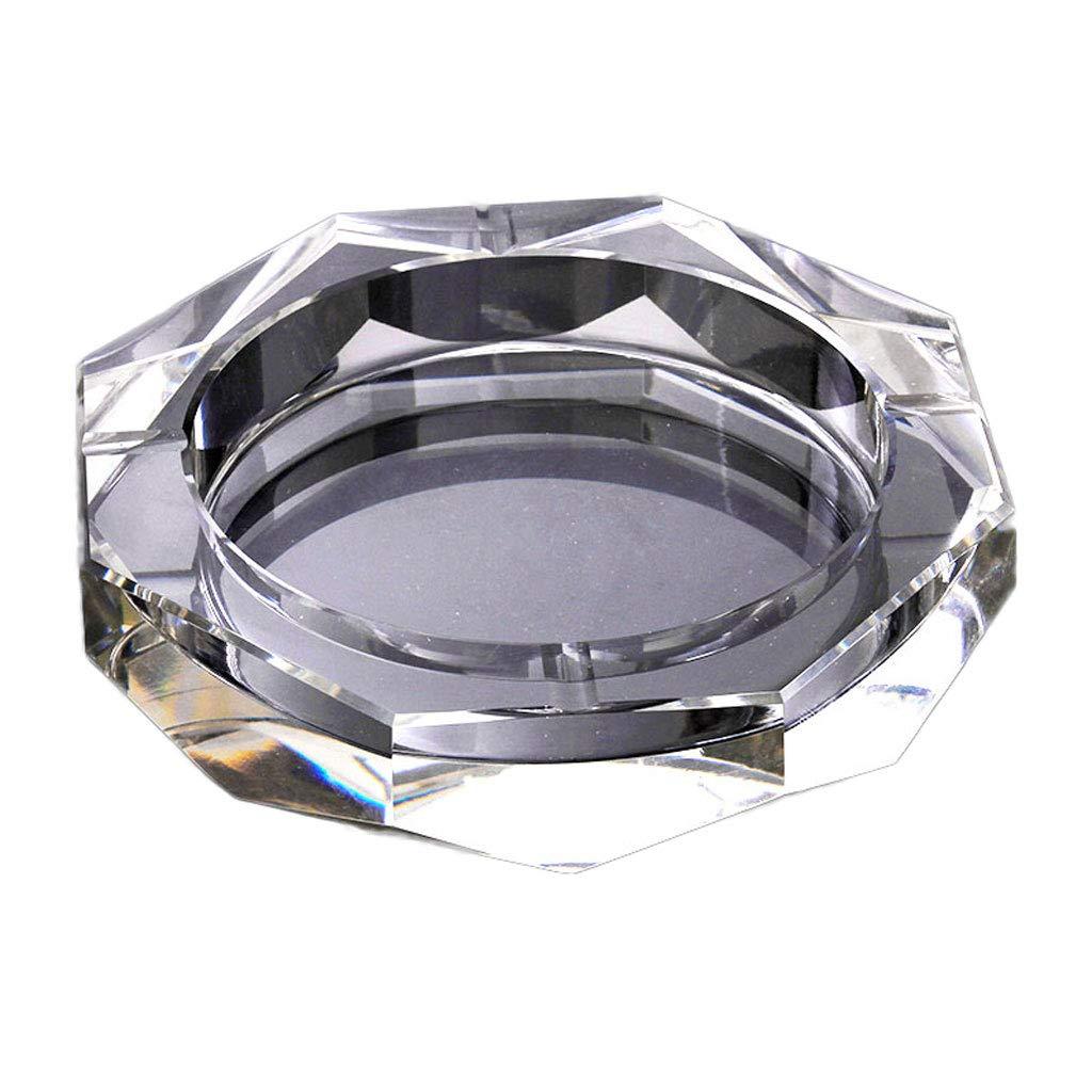 ZDD Retro Crystal Glass Ashtray/Creative Personality Home Practical Ashtray/Decorative Ornaments Gift (Five (Size : 20cm)