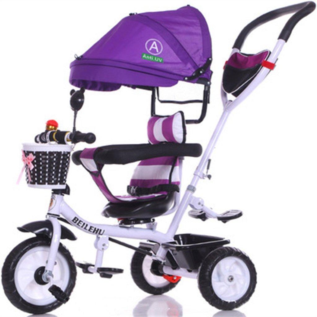 4-in-1 Kinder Dreirad Paw Patrol, Multifunktions Trolley Fahrrad Kinder Push Trikes für Baby 3 Rad Fahrrad mit Anti-UV Markise (Weiß Bike + Lila Markise) (Farbe   A)