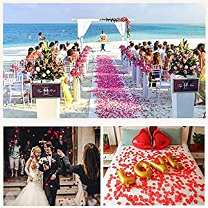POAO 2500 PCS Durabel Artificial Flowers Romantic Silk Rose Petals Lightweight Table Confetti Flowers Wedding Party Decorations 4
