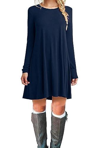 DEARCASE Women's Casual Long Sleeve Simple T-shirt Loose Dress