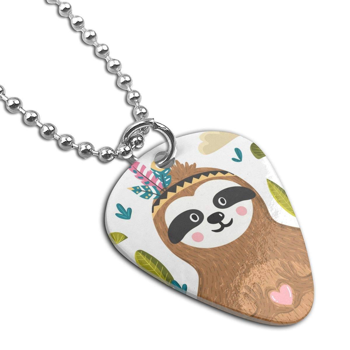 Cute Baby Sloth Holding Heart Custom Guitar Pick Pendant Necklace Keychain