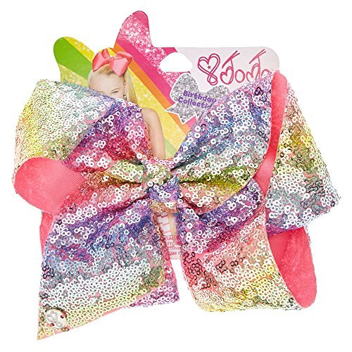 Claire's Girl's JoJo Siwa Large Rainbow Sequin Signature Hair Bow (Signature Bows)