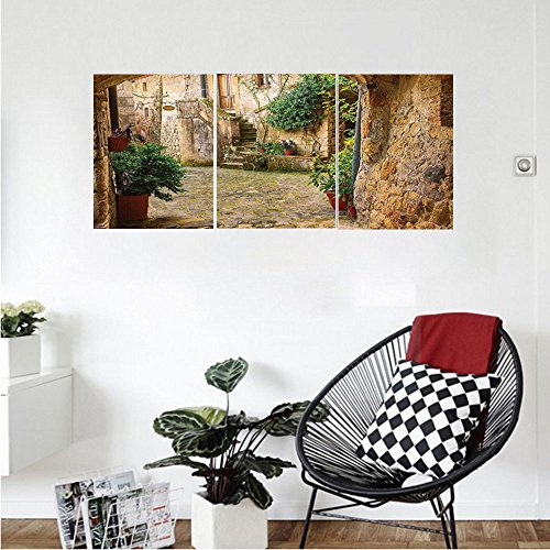 Liguo88 Custom canvas Scenery Decor Landscape from another Door Antique Stone Village Tuscany Italian Valley Wall Hanging for Bedroom Living Room Multicolor - Antique Italian Tole