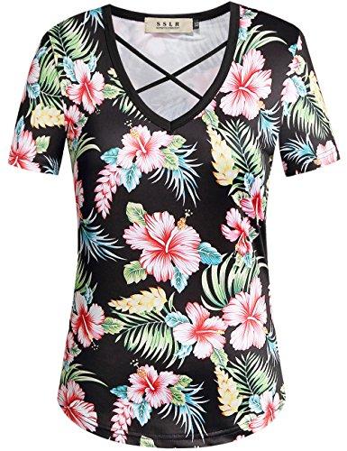 SSLR Womens Floral V Neck Casual Short Sleeve Hawaiian T Shirt Tops (Medium, Black)