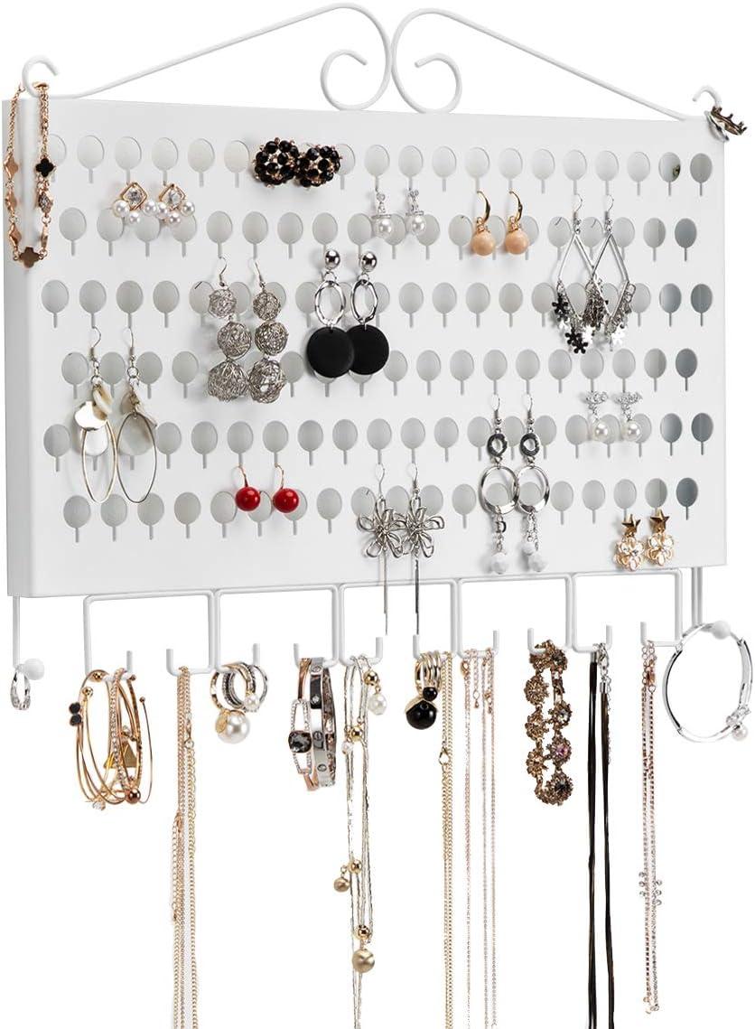 Collier Bracelet Blanc J JACKCUBE DESIGN JackCubeDesign MK319B Support Mural pour Boucles doreilles Blanc pr/ésentoir en Fer avec 117 trous//12 Crochets