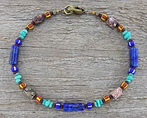(Jasper Stone, Lapis, and Turquoise Anklet - Rustic, Tribal, Unisex,)