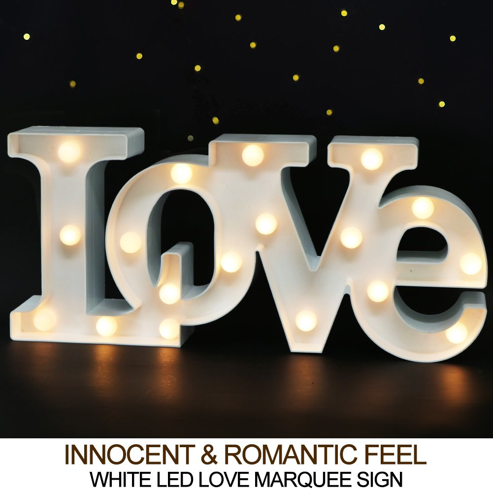 Amazon com bright zeal 16 x 7 large love bedroom decor lights led marquee letters white love sign for wall table wedding decorations lights for