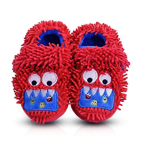LA PLAGE Kids Anti-Slip Monster Winter Warm Soft Plush House Slippersr