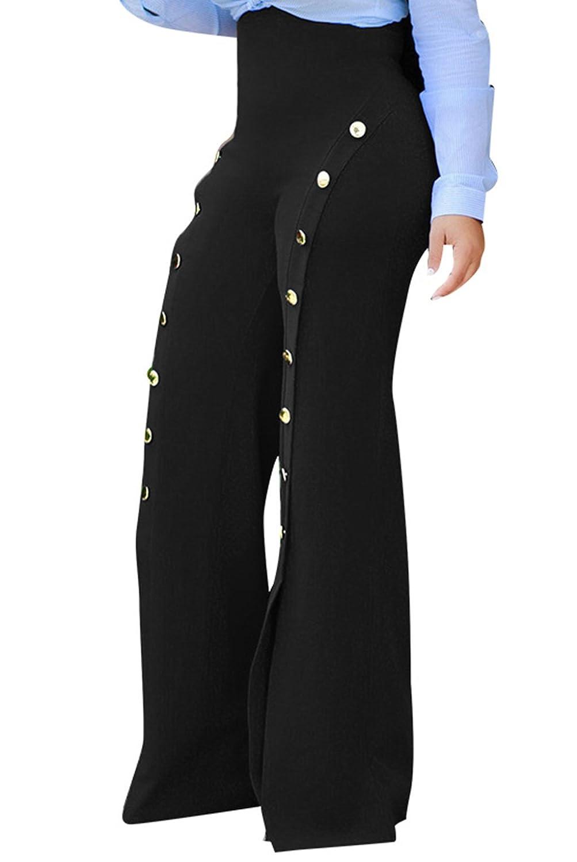 GUOLEZEEV Women High Waist Slit Flared Wideleg Pants Buttons Embellish Flared Trousers