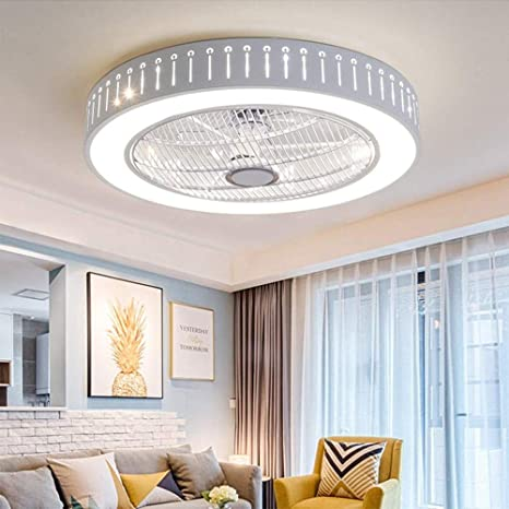 Ganeep LED Round Modern Ceiling Fan Lights Dining Room Bedroom Living  Remote Control Fan Lamps Invisible Ceiling Lights Fan Lighting Small Office