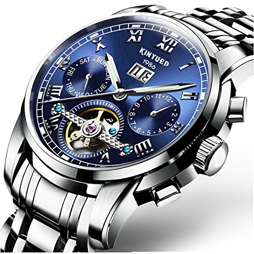 Swiss Men's Stainless Steel Blue Tourbillon Automatic Mechanical Watch (Watch Movement Swiss)