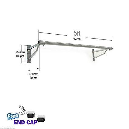 Montado en la pared perchero ropa para colgar accesorio de pantalla Tubo tiendas casa 25 mm, Crs1000101, 5ft x 25mm TUBE & 2 BRACKETS