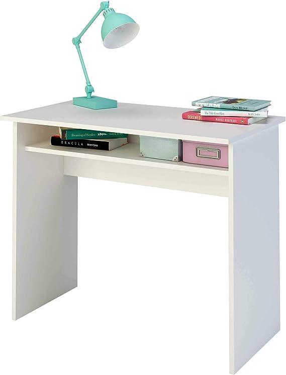 en m/élamin/é Gris Mat et Blanc Bureau Informatique Table dordinateur avec Rangement Ouvert 2 tablettes lat/érales IDIMEX Bureau pour Enfant ou Adulte Nova