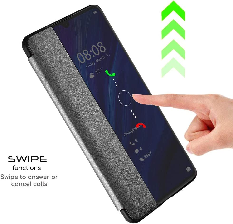Transparent Silicone Folio Stand Cover for Huawei P30 Pro Smart Touch Case PU Leather Mirror Smart Touch Flip Cover Window View Grey Oihxse Huawei P30 Pro Case,